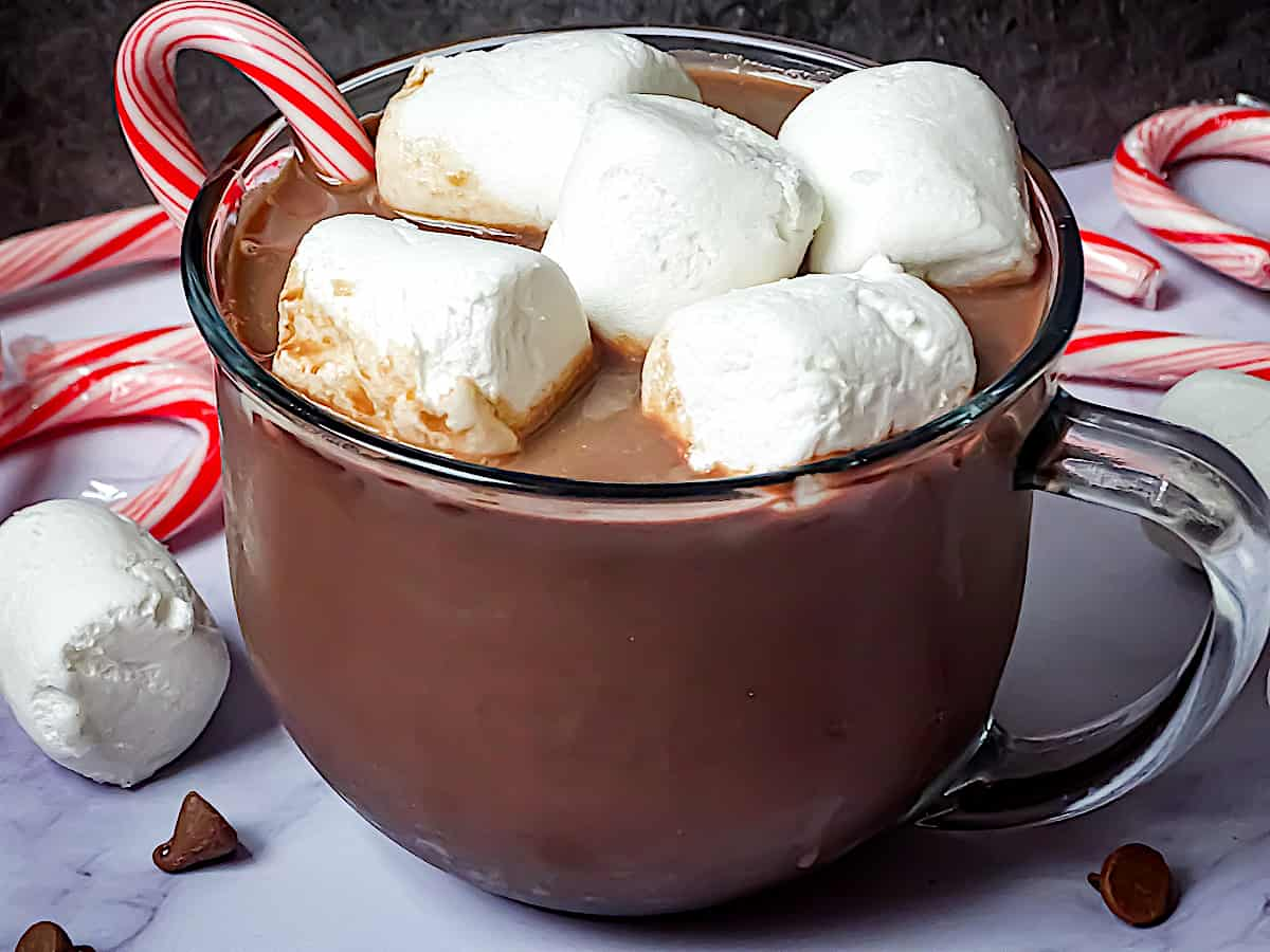 crockpot hot chocolate on a white plate with marshmallows and candy canes