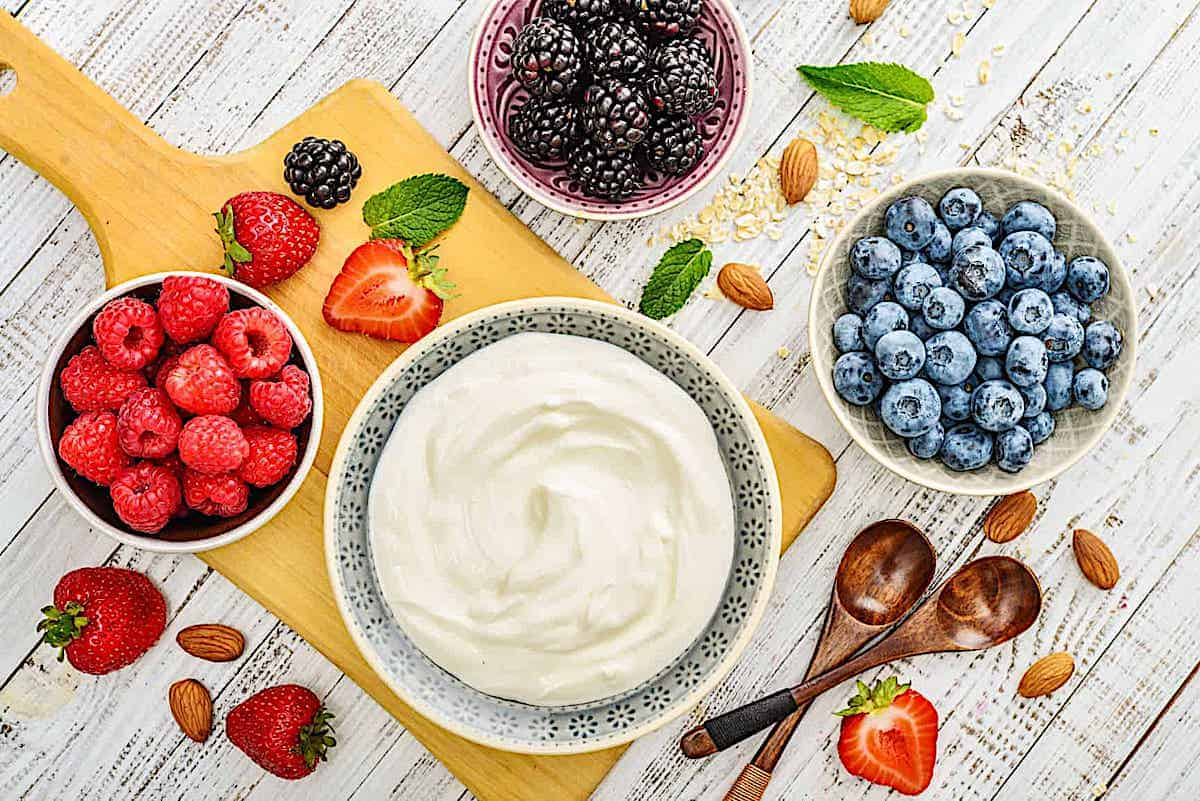 yogurt in a bowl surrounded by fresh berries