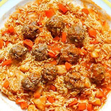 kebab hindi with lamb meatballs and saffron rice