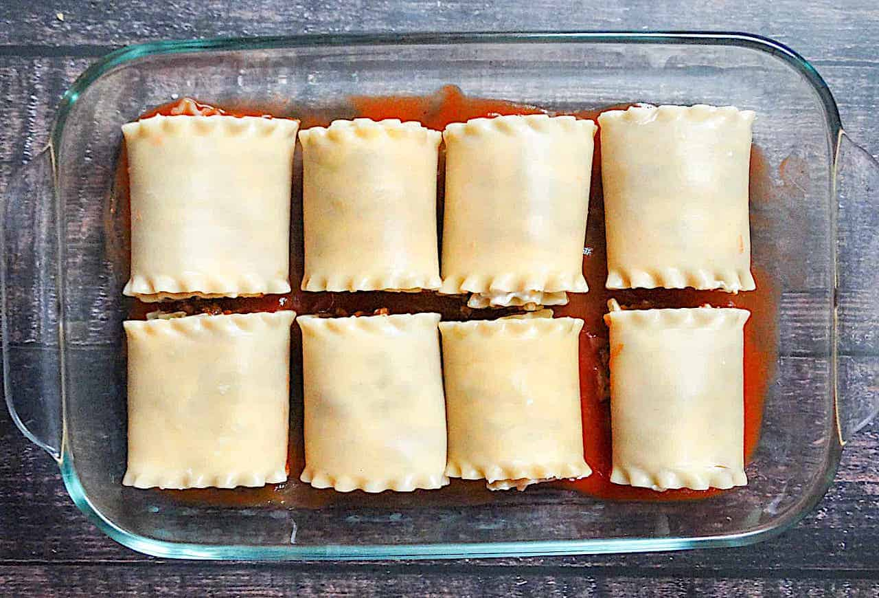 lasagna roll ups in a glass pan