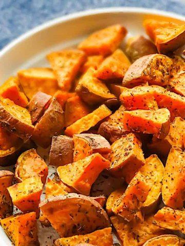 oregano roasted sweet potatoes