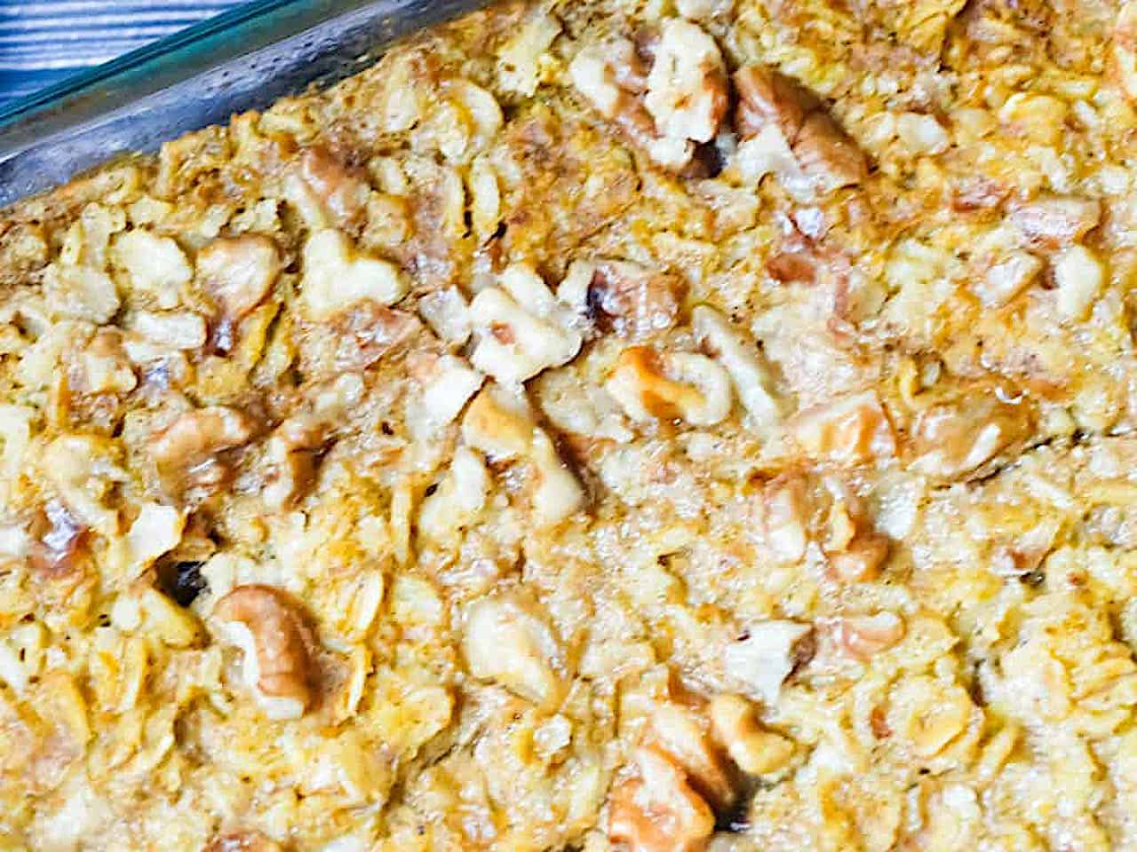 close up of pumpkin baked oatmeal walnut topping