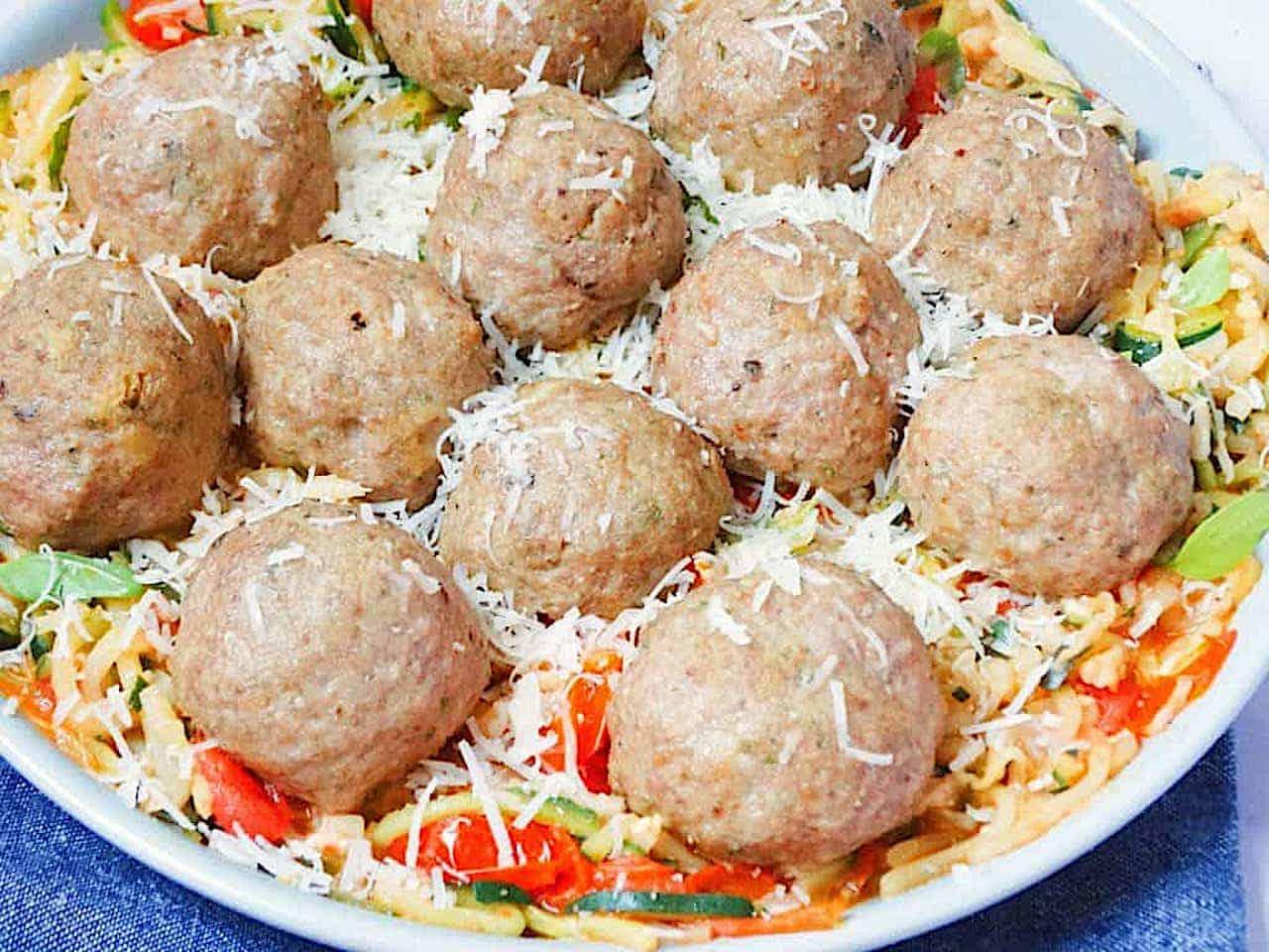 Italian Baked Turkey meatballs and zucchini noodles with turkey meatballs