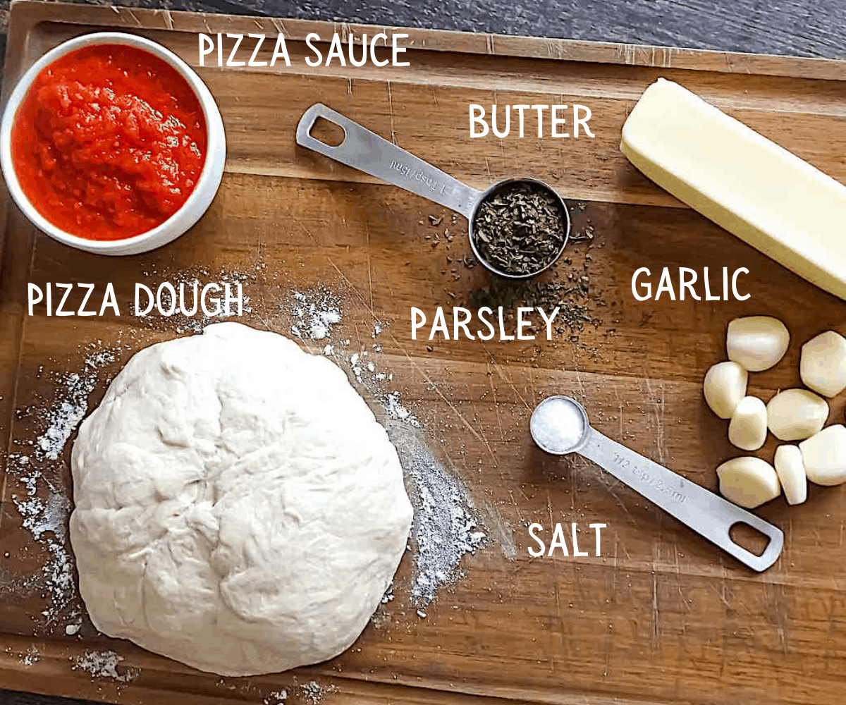 ingredients for garlic knots on a cutting board, labeled