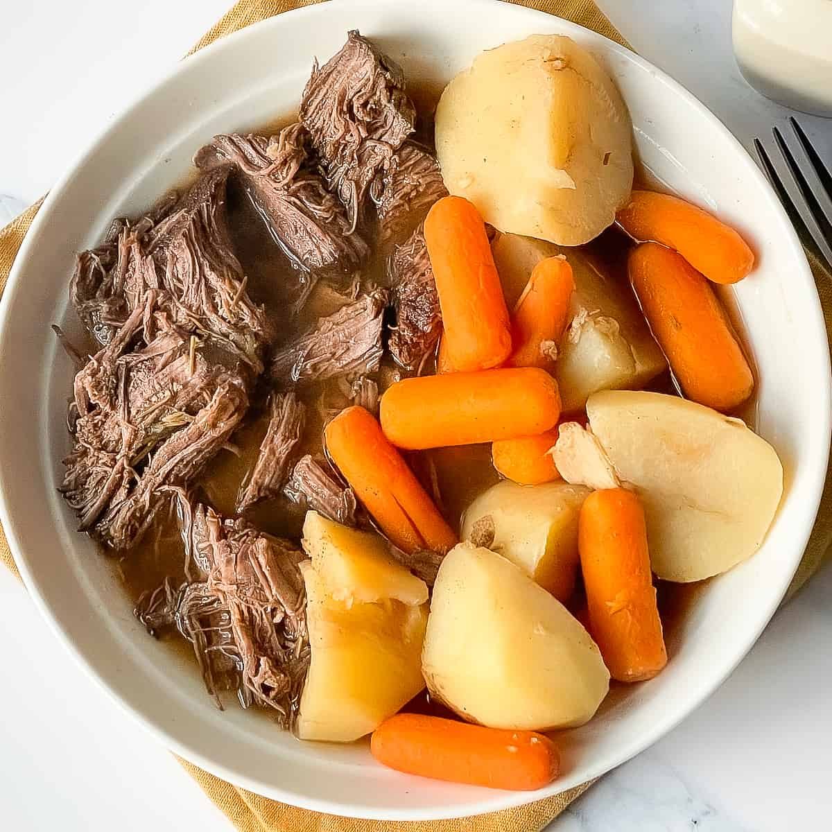 Instant pot venison roast with potatoes and carrots in a while bowl