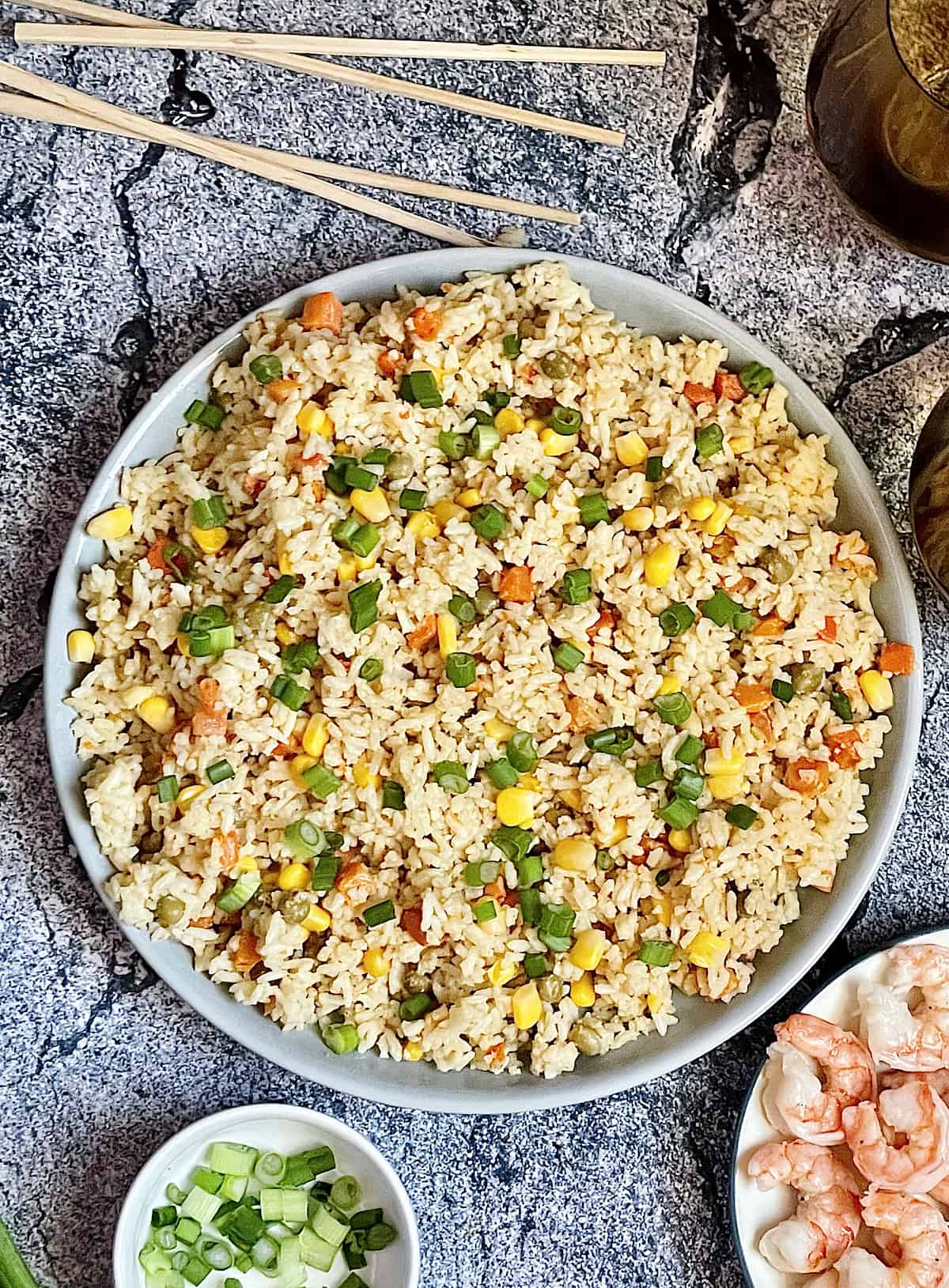 Instant Pot fried rice on a grey background