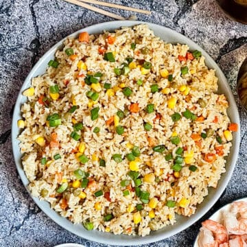 Instant Pot fried rice in a plate with shrimp