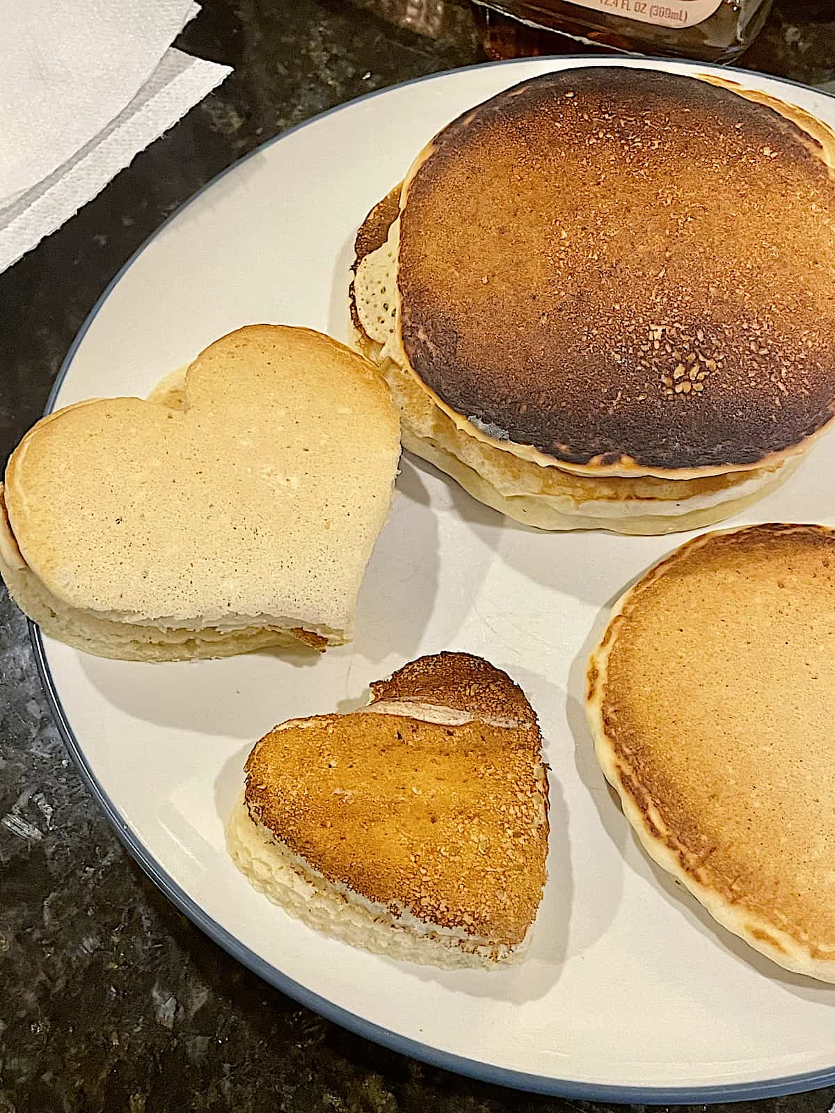 heart shaped pancakes on a plate