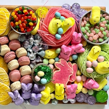 Easter candy charcuterie board with traditional easter candy