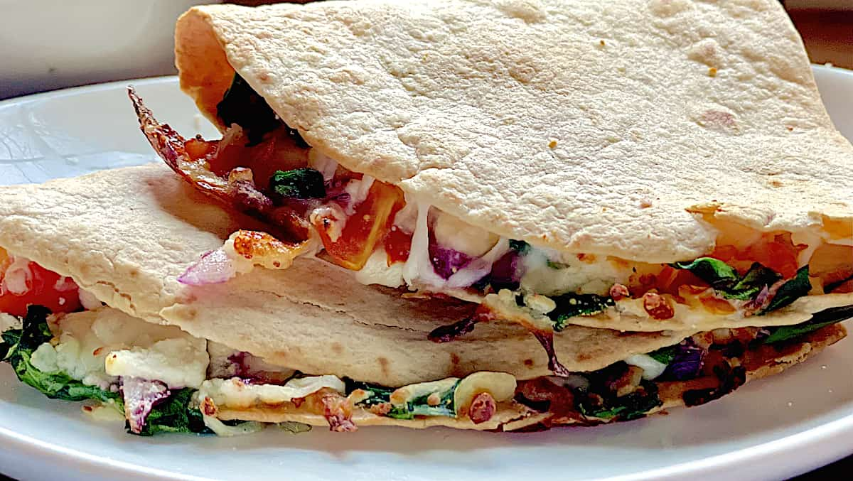 close up of the inside of an air fried quesadilla