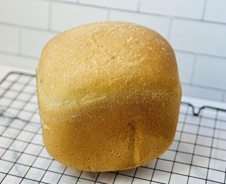 fluffy white bread machine white bread on a wire rack