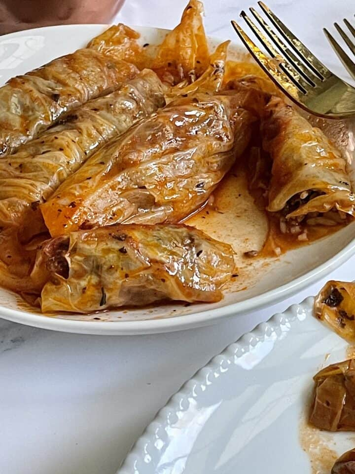 close up of sliced stuffed cabbage rolls