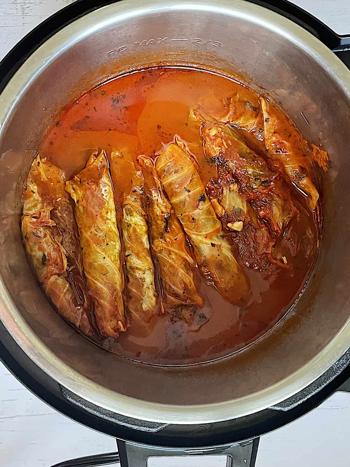 cooked Instant Pot cabbage rolls