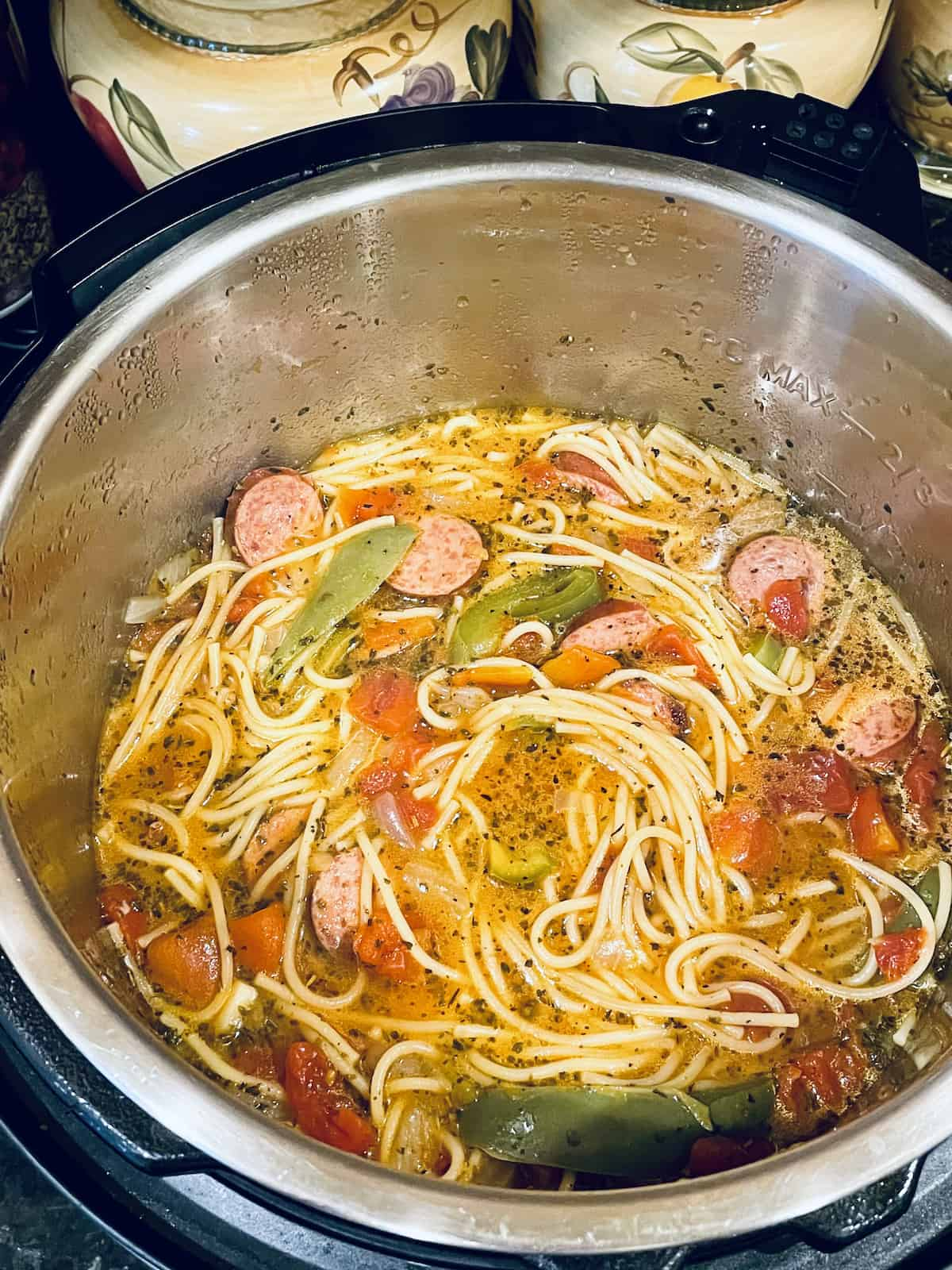 kielbasa and pasta cooked in the pressure cooker