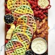 Rainbow Waffle Charcuterie Board