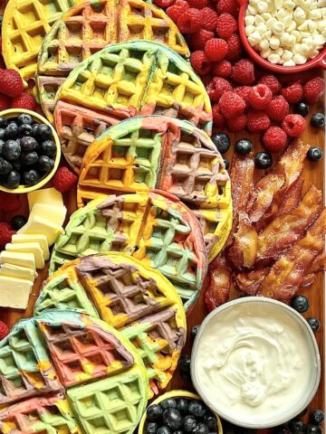 rainbow waffle charcuterie board picture