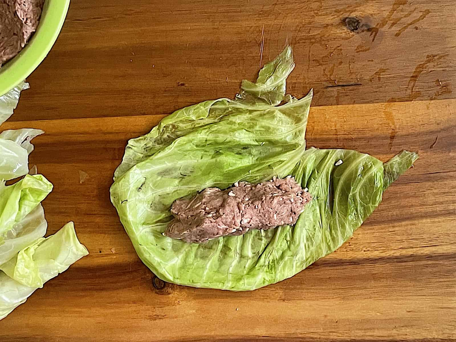 cabbage rolled stuffed with lamb and rice