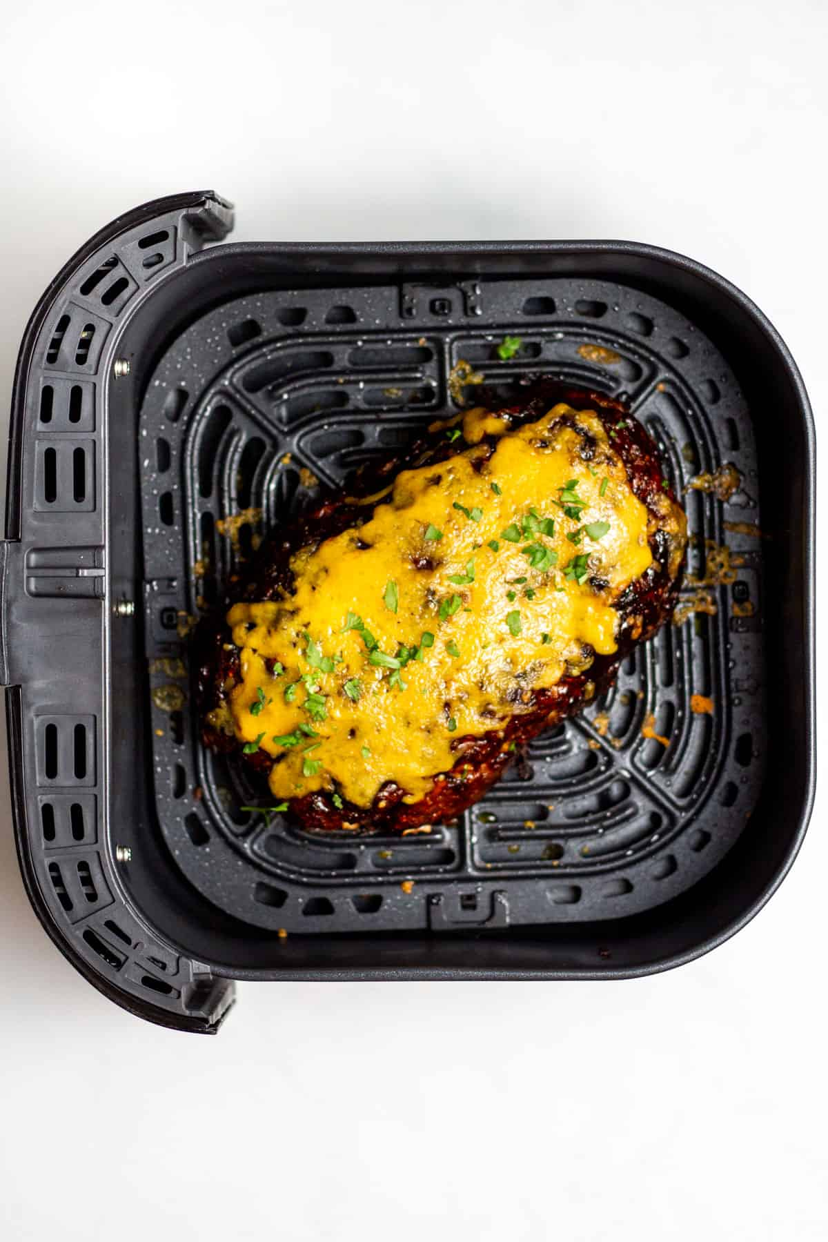 air fried barbecue cheddar meatloaf cooked and in the air fryer