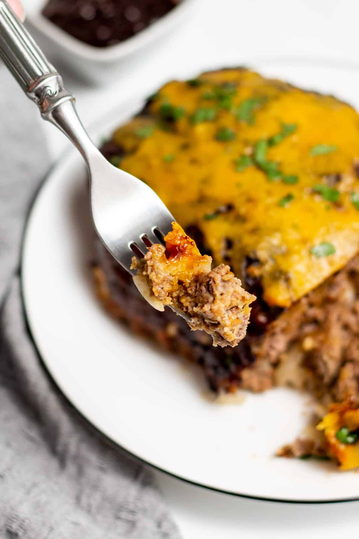 air fryer meatloaf on a fork