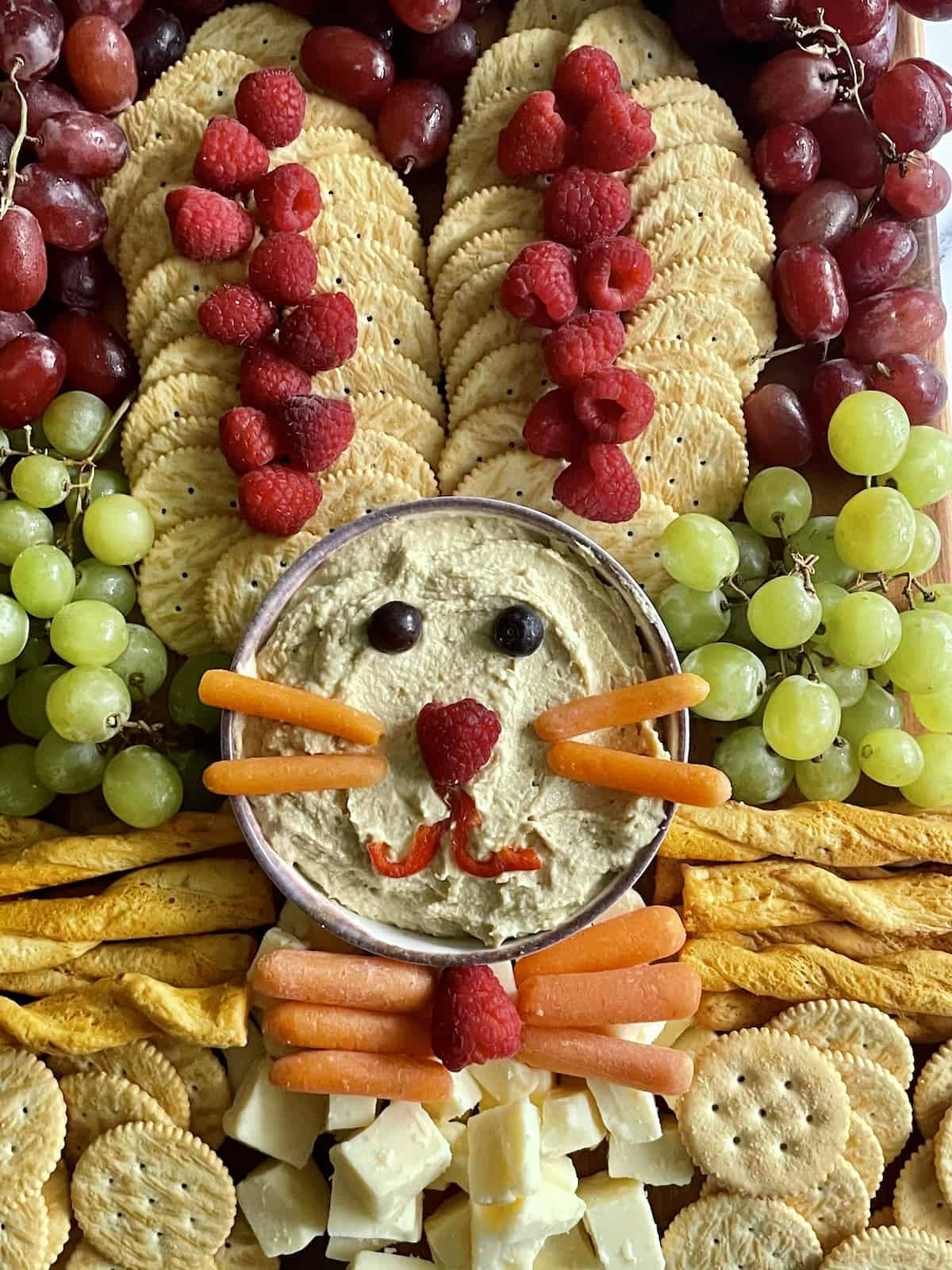 close up of an Easter Bunny shaped snack board