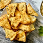 air fryer pita chips on a plate