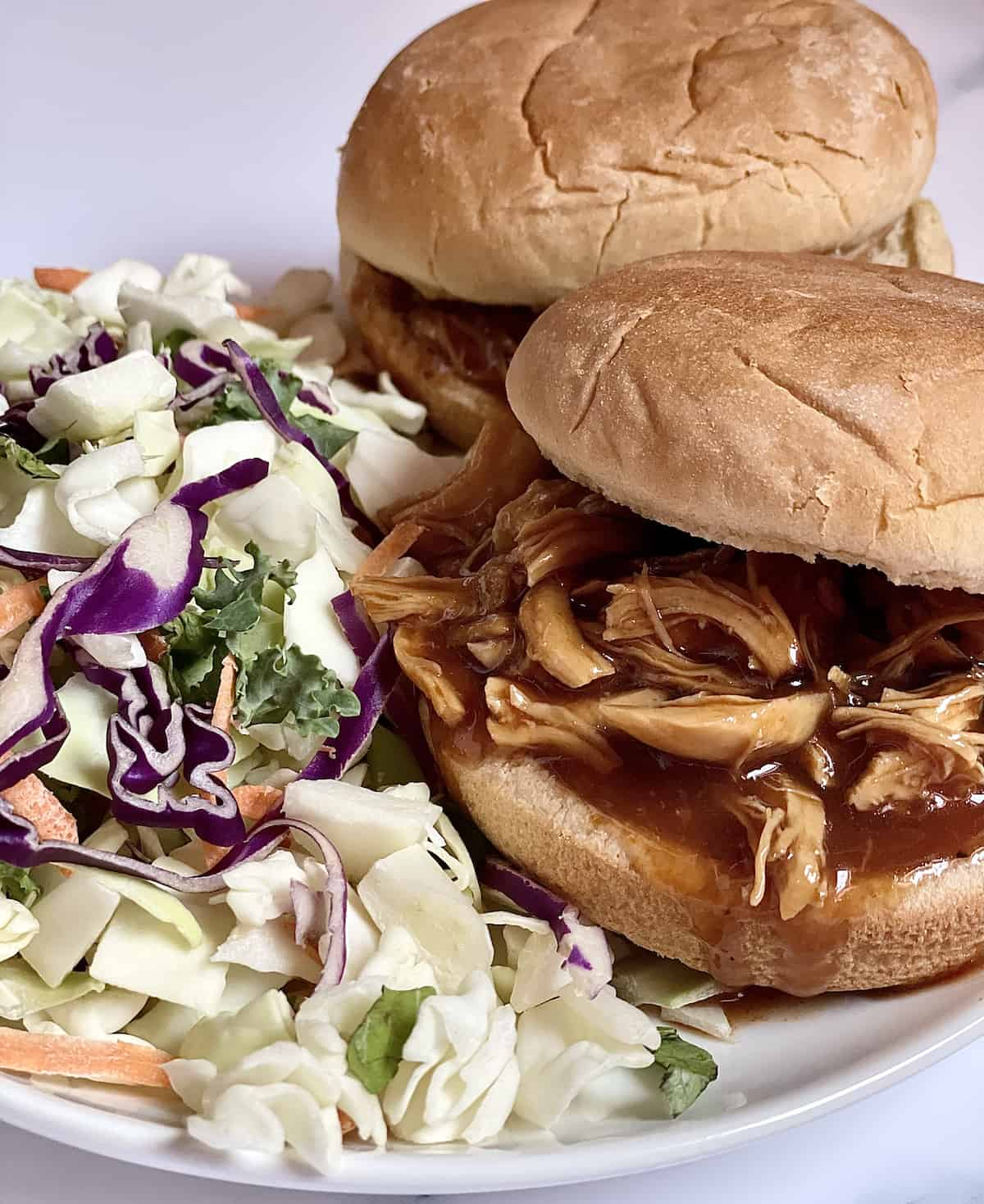 Instant Pot pulled barbecue chicken on sandwiches