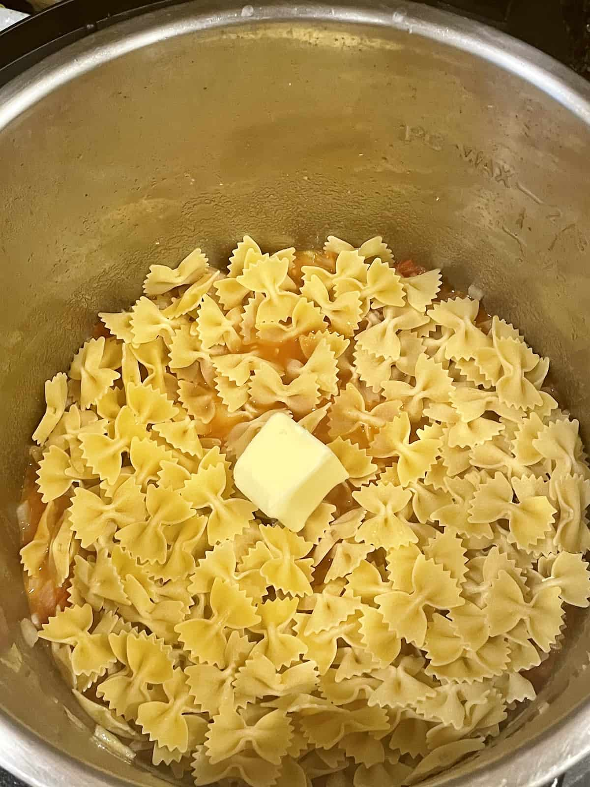 pasta, butter and water in the instant pot