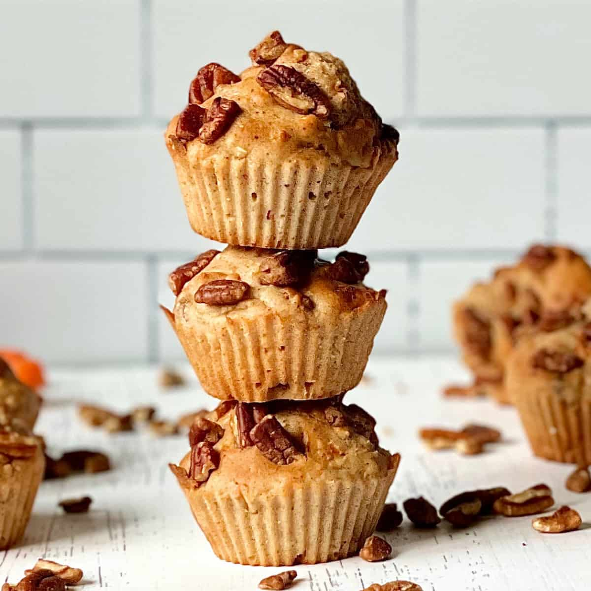 air fryer morning glory muffins in a stack