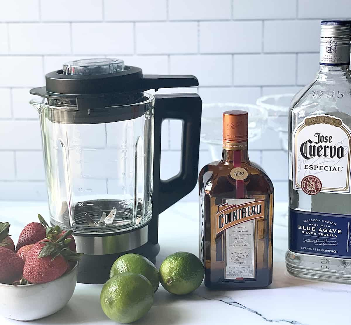 cointreau, tequila, limes, strawberries, and a blender
