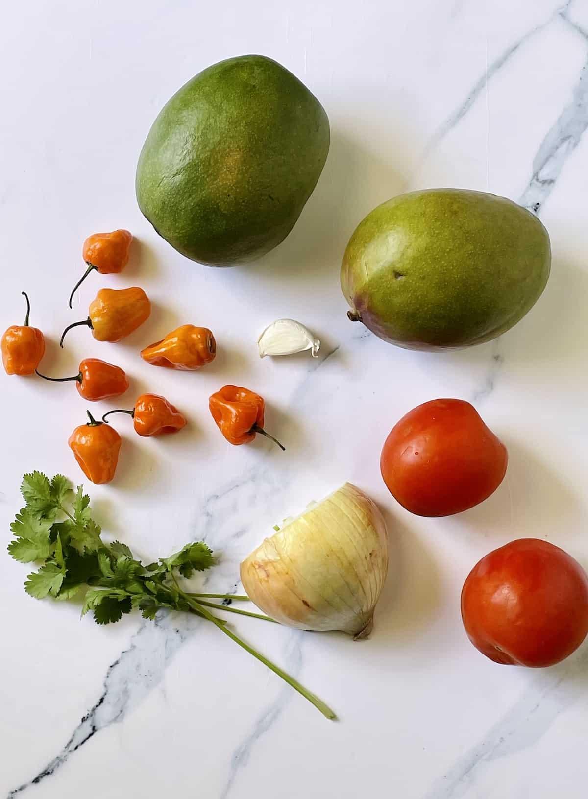 mango, habanero pepper, tomatoes, onion, garlic, and cilantro on a white cutting board