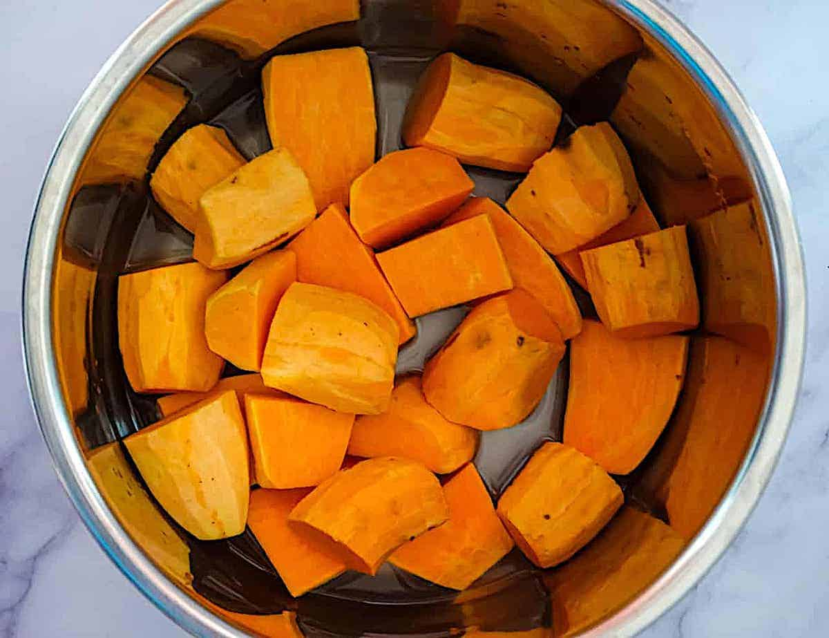 sweet potato cubes in the instant pot