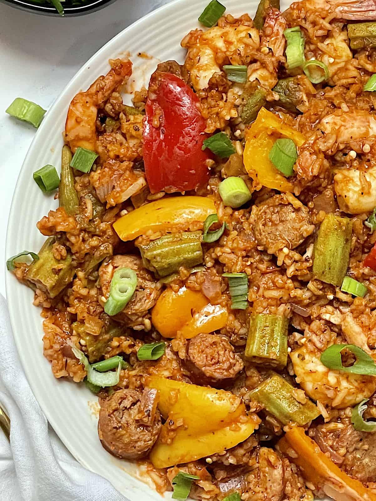 close up of seafood and sausage instant pot jambalaya