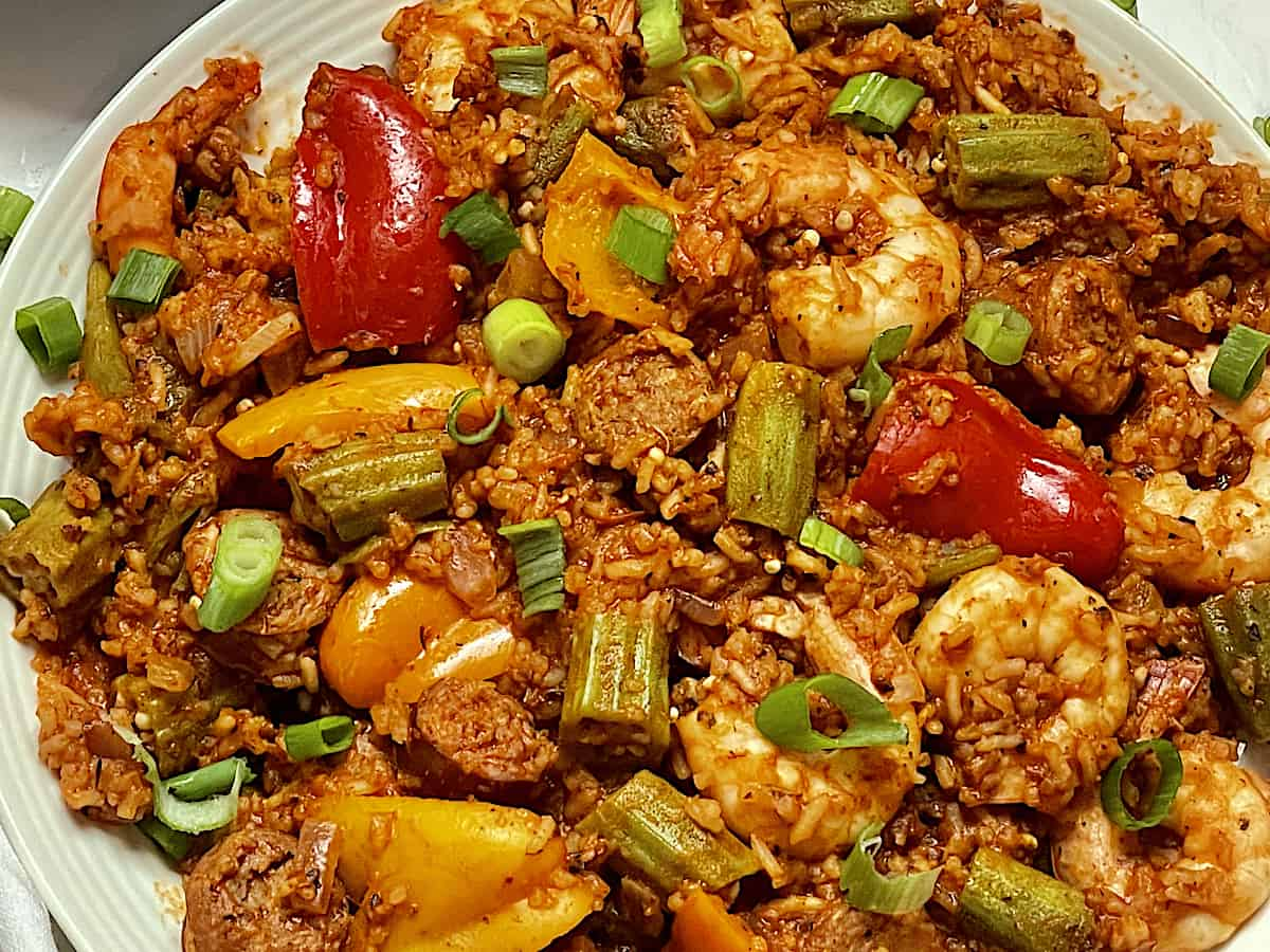 close up of instant pot jambalaya in a white plate