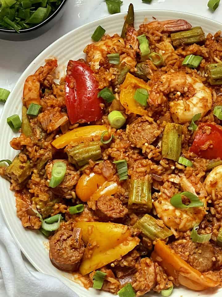close up of sausage and shrimp jambalaya