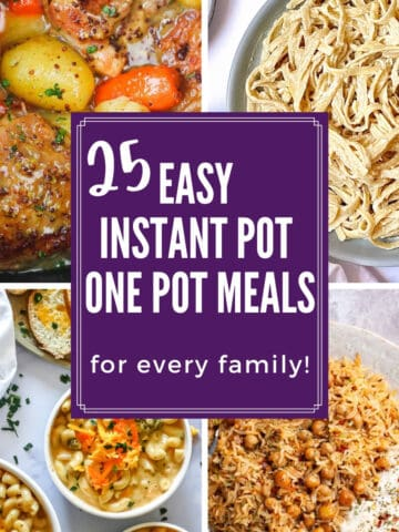 collage of instant pot one pot dinners
