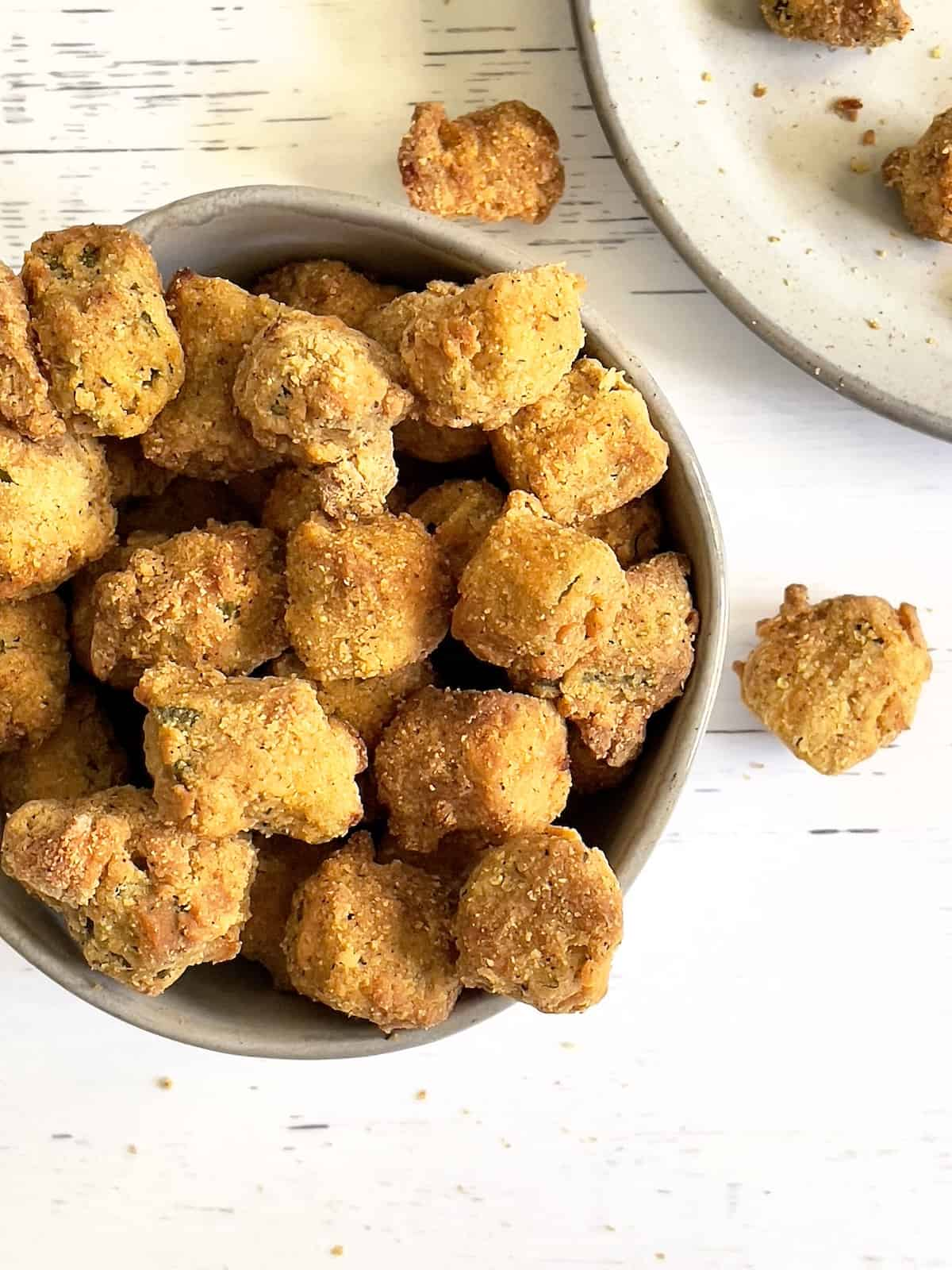 breaded okra pieces in a bowl