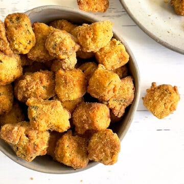 air fried breaded okra in a white bowl