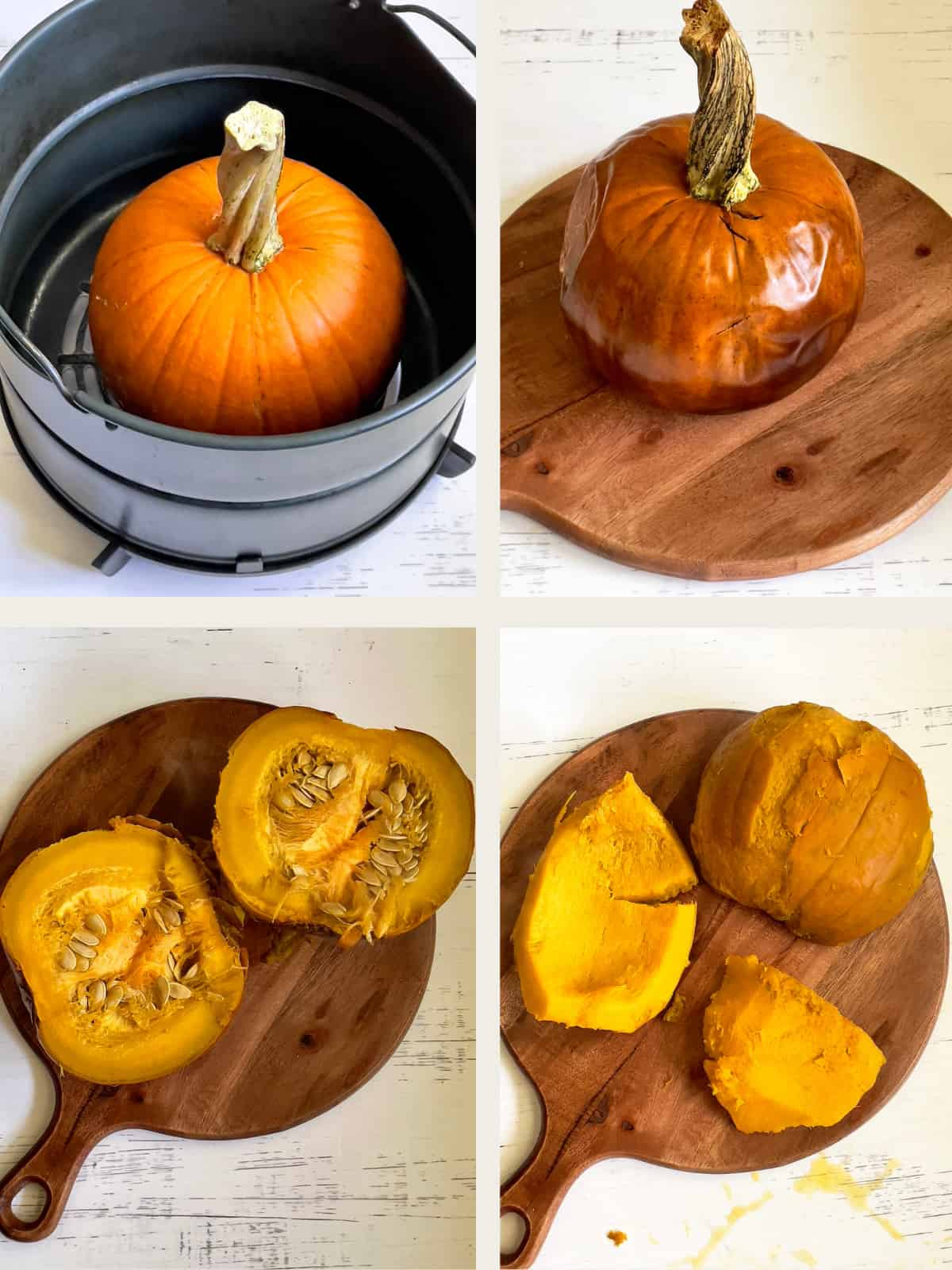 steps to air frying, pulping, and slicing a whole pumpkin
