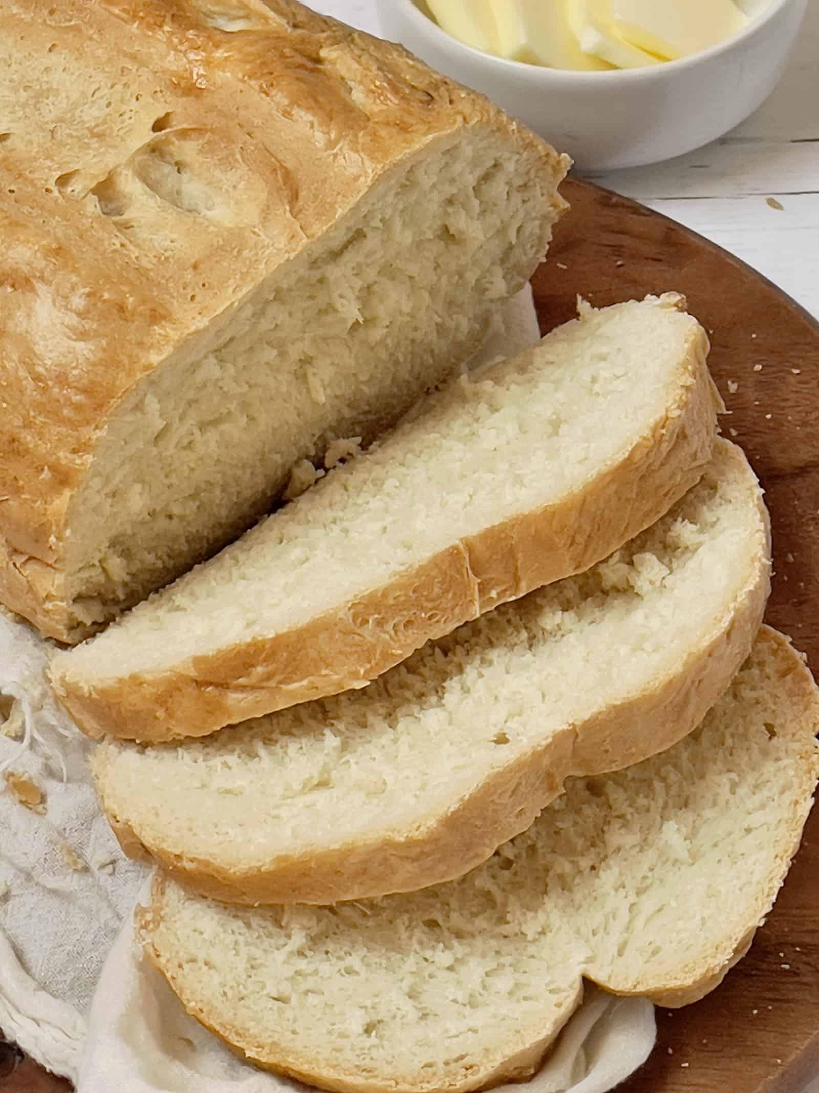 sliced Italian bread on a cutting board