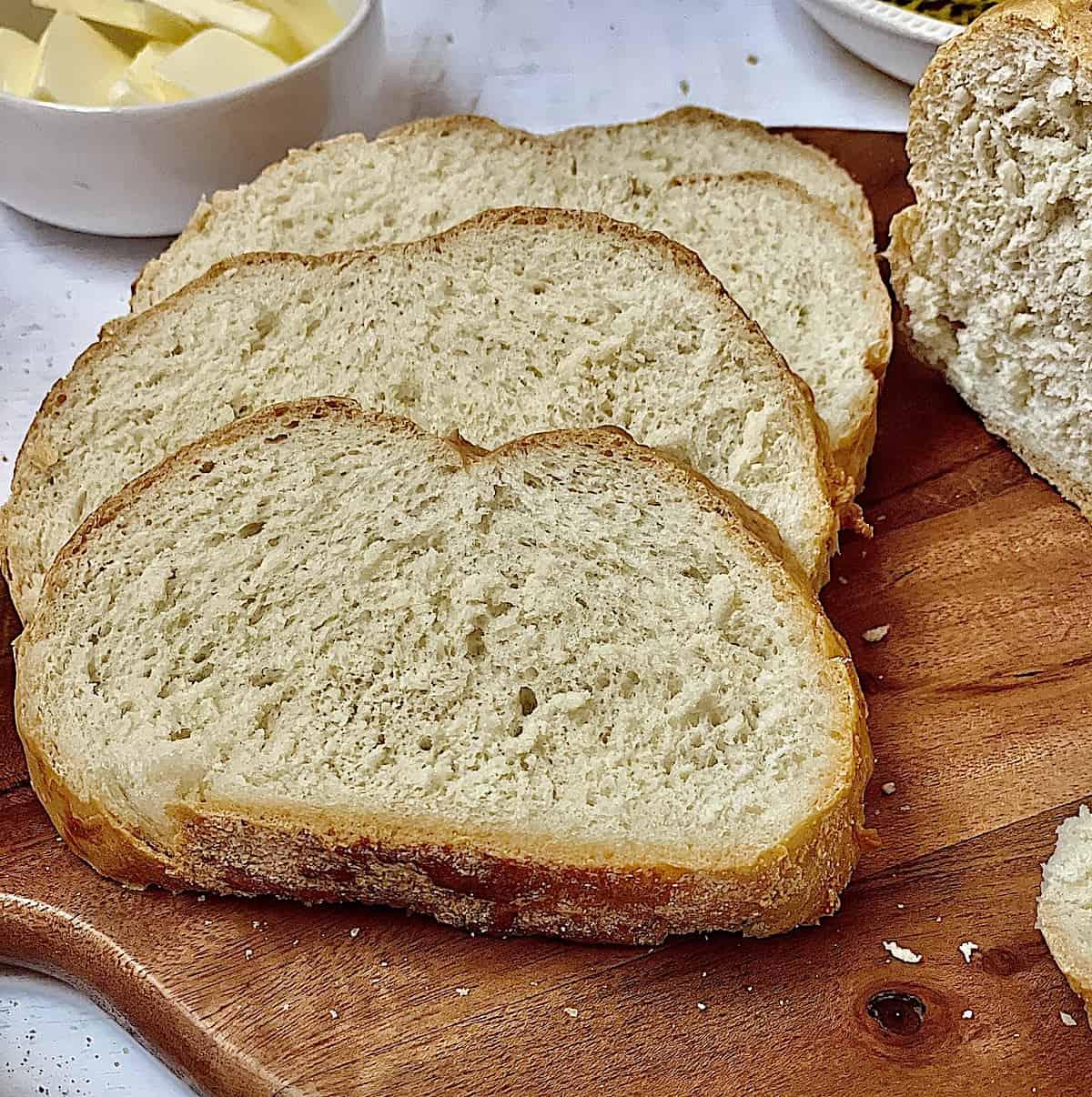 close up of Italian bread slices