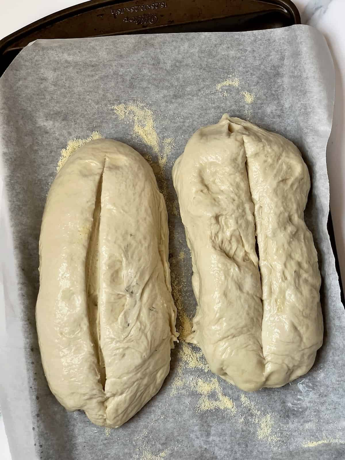 risen dough with a long slice in the top