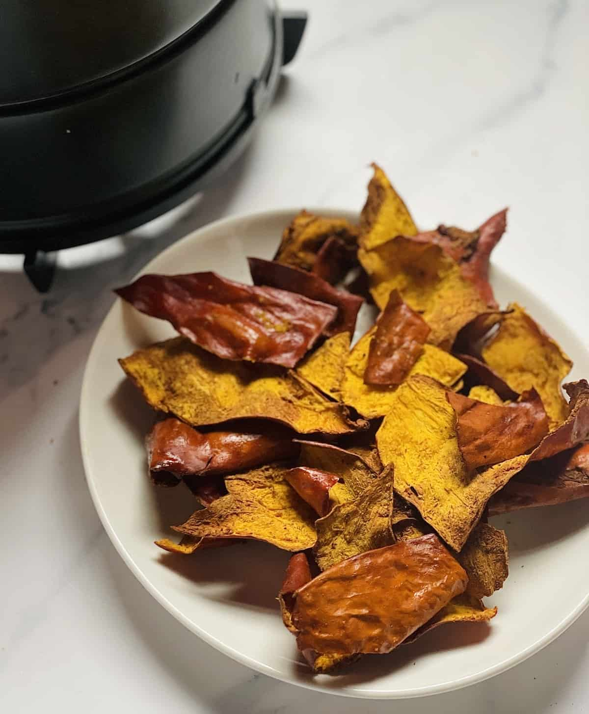 pumpkin chips on a white plate