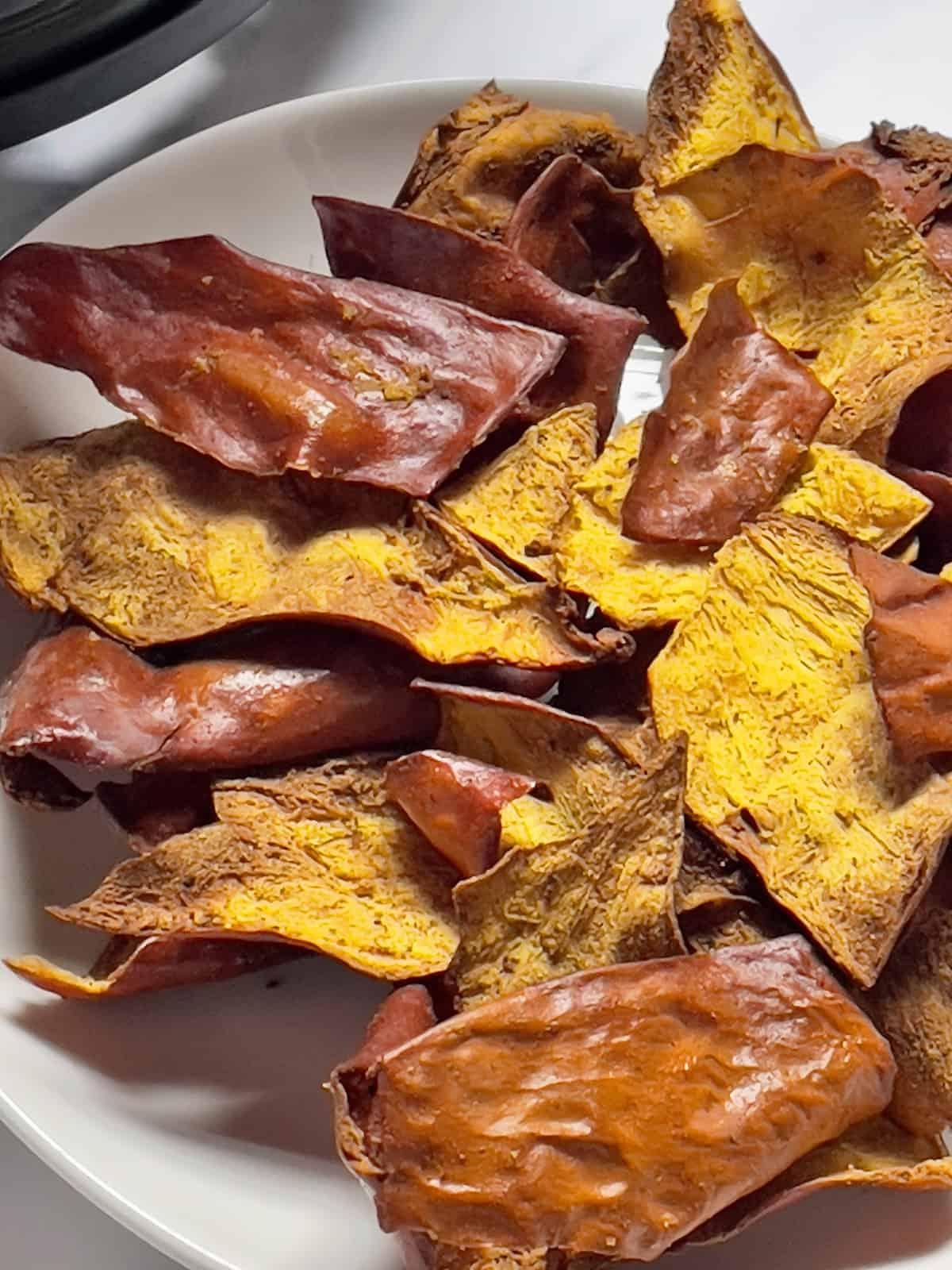 close up of air fried pumpkin chips